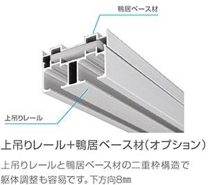 上吊りレール+鴨居ベース材(オプション)